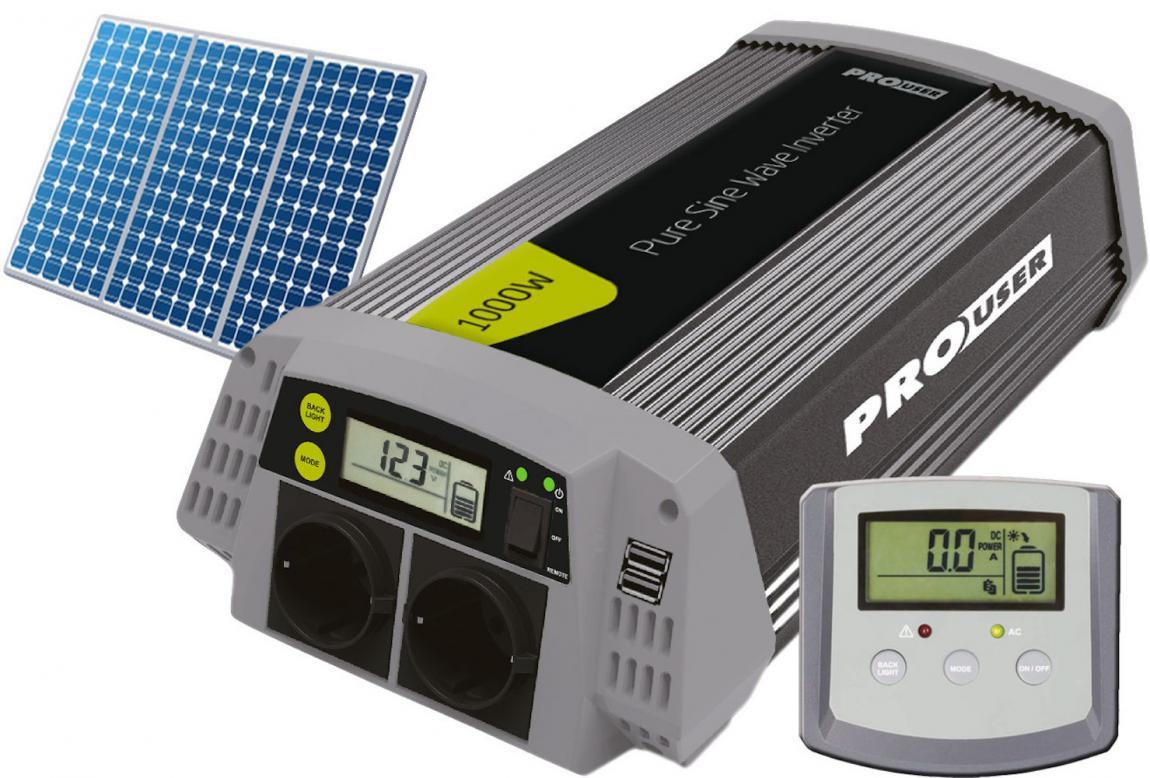 Pro-User PSI1000 szinuszos inverter kijelzővel és solar vezérléssel 1000/2000W