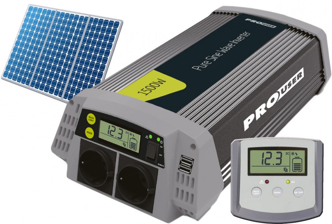Pro-User PSI1500 szinuszos inverter kijelzővel és solar vezérléssel 1500/3000W