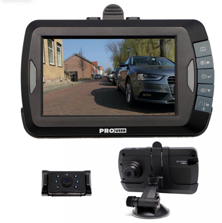 """Pro-User DRC4310DC digitális vezeték nélküli tolatókamera rendszer 4,3"""",  Dashcammel"""
